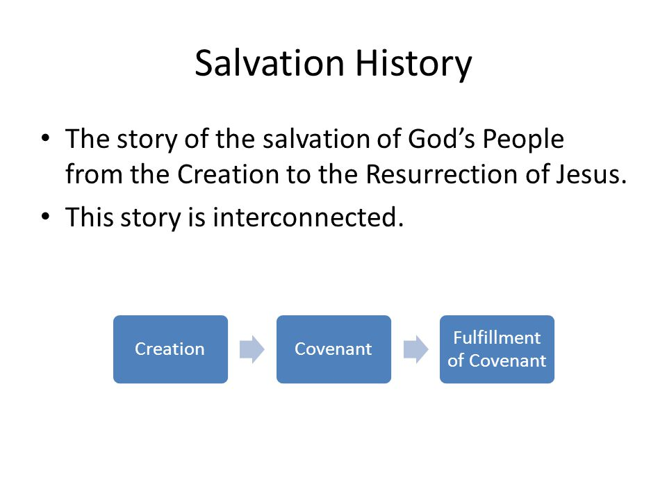 Salvation History The story of the salvation of God's People from the Creation to the Resurrection of Jesus.