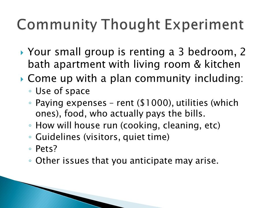  Your small group is renting a 3 bedroom, 2 bath apartment with living room & kitchen  Come up with a plan community including: ◦ Use of space ◦ Paying expenses – rent ($1000), utilities (which ones), food, who actually pays the bills.