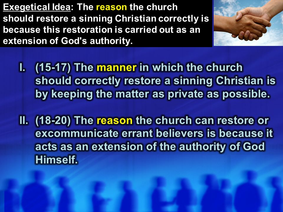 II.(18-20) The reason the church can restore or excommunicate errant believers is because it acts as an extension of the authority of God Himself.