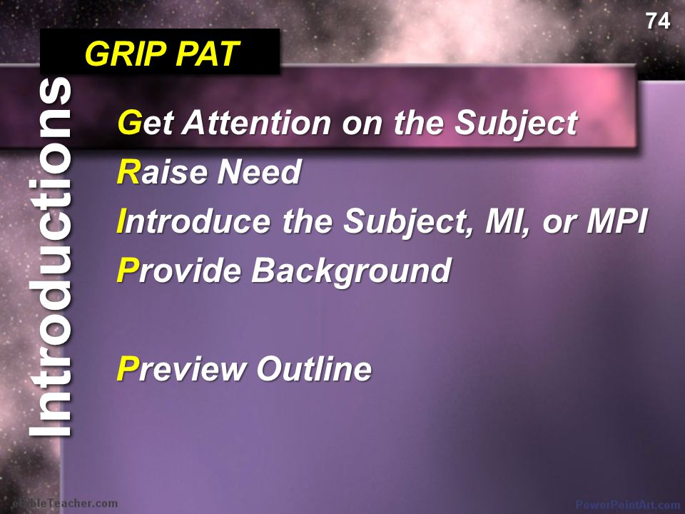 Introductions GRIP PAT Get Attention on the Subject Raise Need Introduce the Subject, MI, or MPI Provide Background Get Attention on the Subject Raise