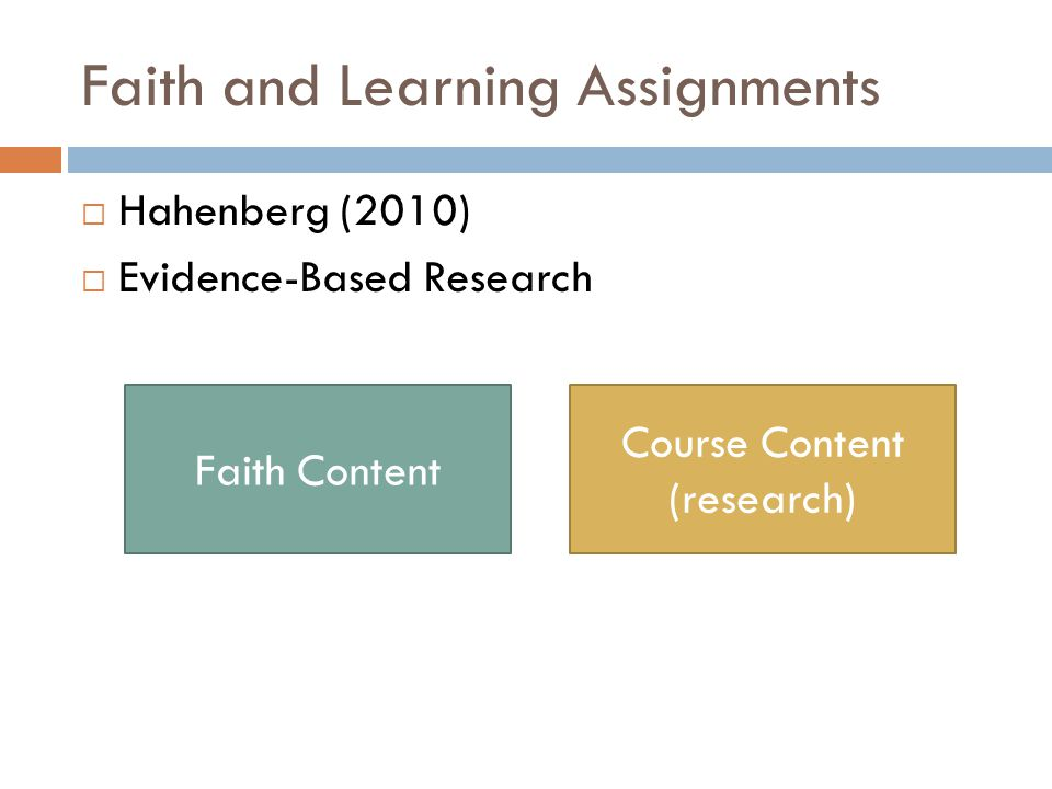 Faith and Learning Assignments  Hahenberg (2010)  Evidence-Based Research Course Content (research) Faith Content