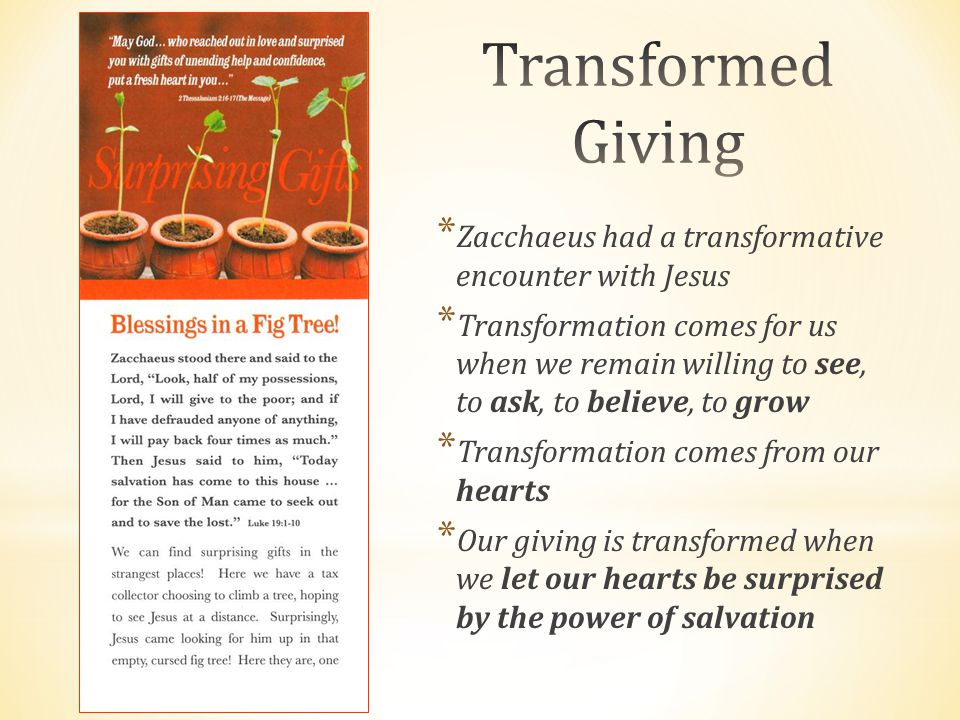 * Zacchaeus had a transformative encounter with Jesus * Transformation comes for us when we remain willing to see, to ask, to believe, to grow * Trans