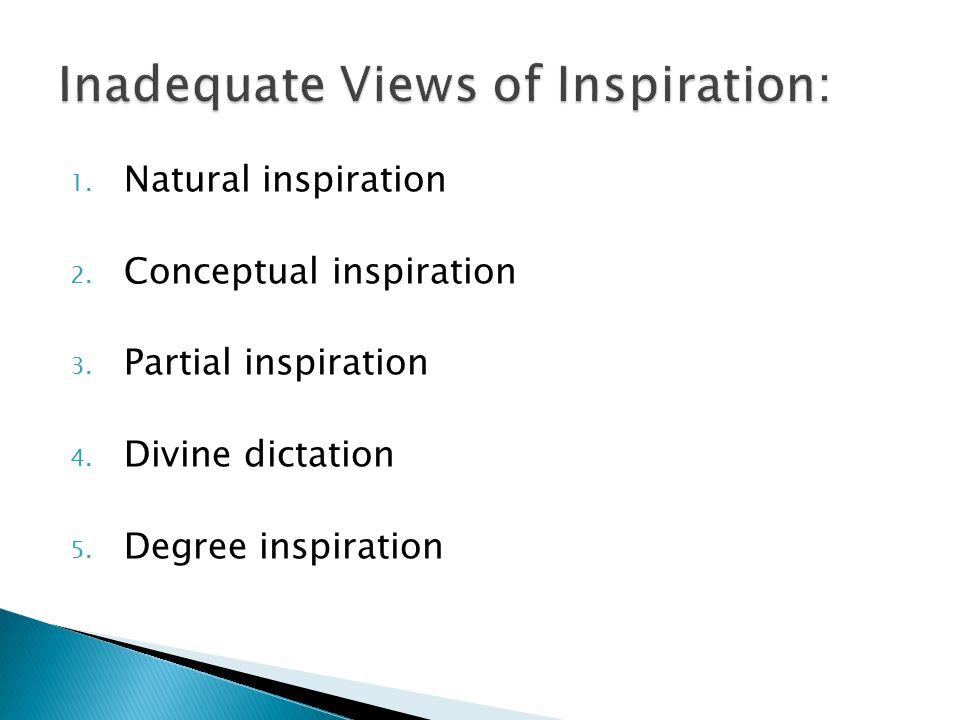 1.Natural inspiration 2. Conceptual inspiration 3.