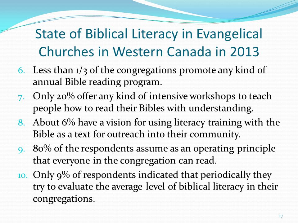 State of Biblical Literacy in Evangelical Churches in Western Canada in 2013 6.