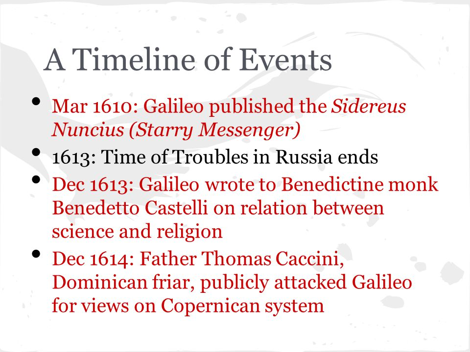 A Timeline of Events Feb 1615: G s letter to Castelli sent to Holy Office in Rome.