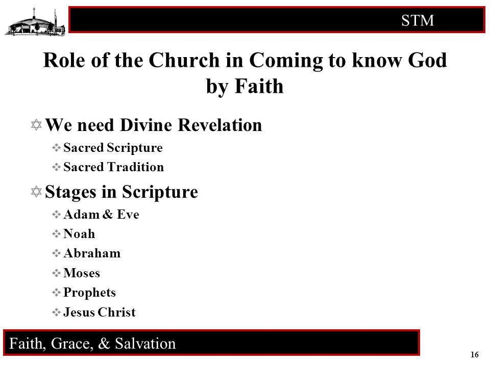 16 STM RCIA Faith, Grace, & Salvation Role of the Church in Coming to know God by Faith  We need Divine Revelation  Sacred Scripture  Sacred Tradition  Stages in Scripture  Adam & Eve  Noah  Abraham  Moses  Prophets  Jesus Christ