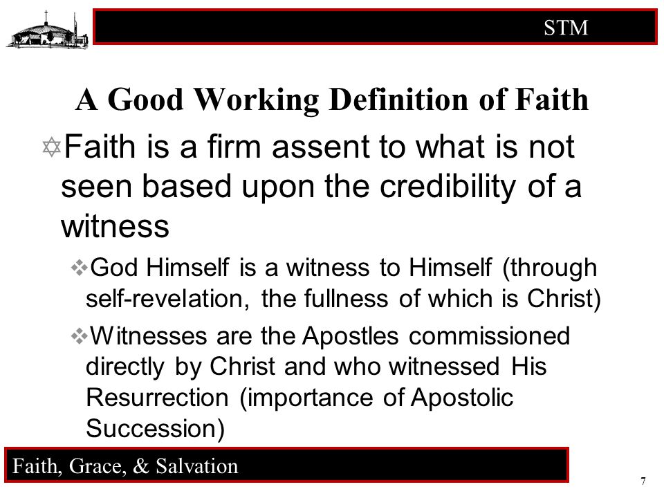 7 STM RCIA Faith, Grace, & Salvation A Good Working Definition of Faith  Faith is a firm assent to what is not seen based upon the credibility of a witness  God Himself is a witness to Himself (through self-revelation, the fullness of which is Christ)  Witnesses are the Apostles commissioned directly by Christ and who witnessed His Resurrection (importance of Apostolic Succession)