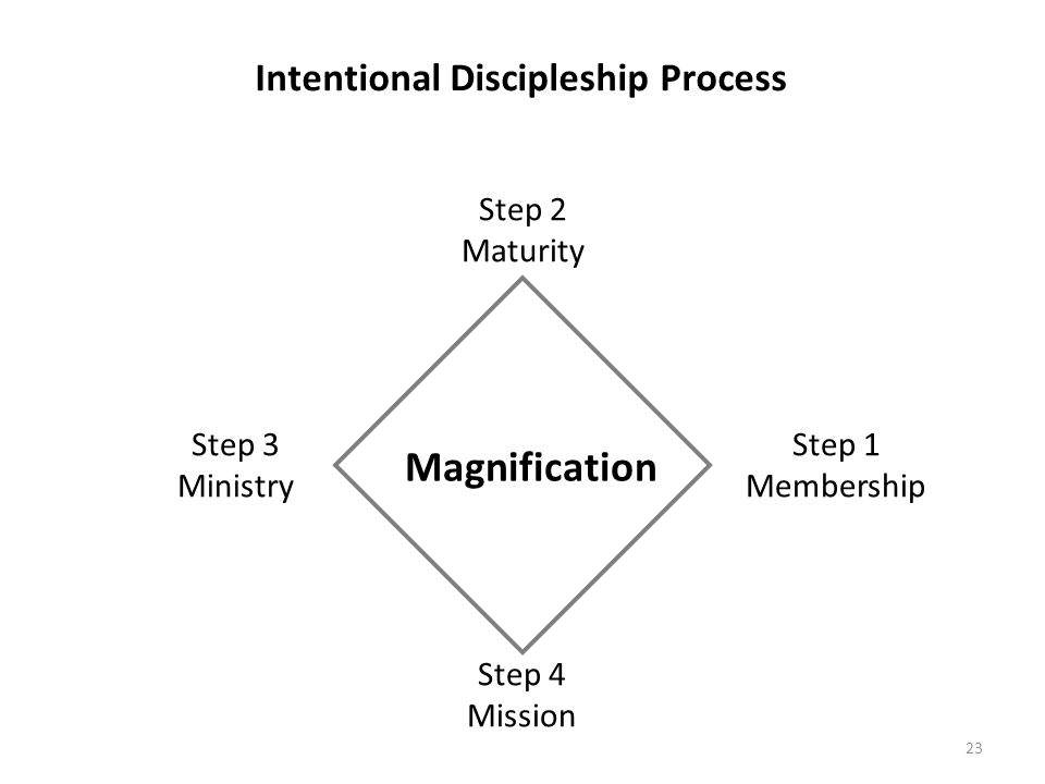23 Step 1 Membership Step 2 Maturity Step 3 Ministry Step 4 Mission Magnification Intentional Discipleship Process