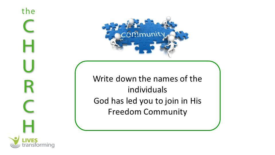 Write down the names of the individuals God has led you to join in His Freedom Community