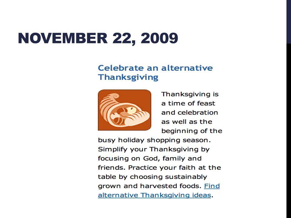 NOVEMBER 22, 2009