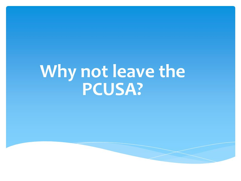 Why not leave the PCUSA