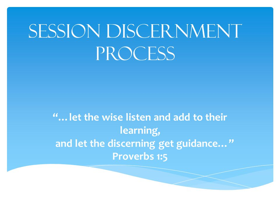 Session Discernment Process …let the wise listen and add to their learning, and let the discerning get guidance… Proverbs 1:5