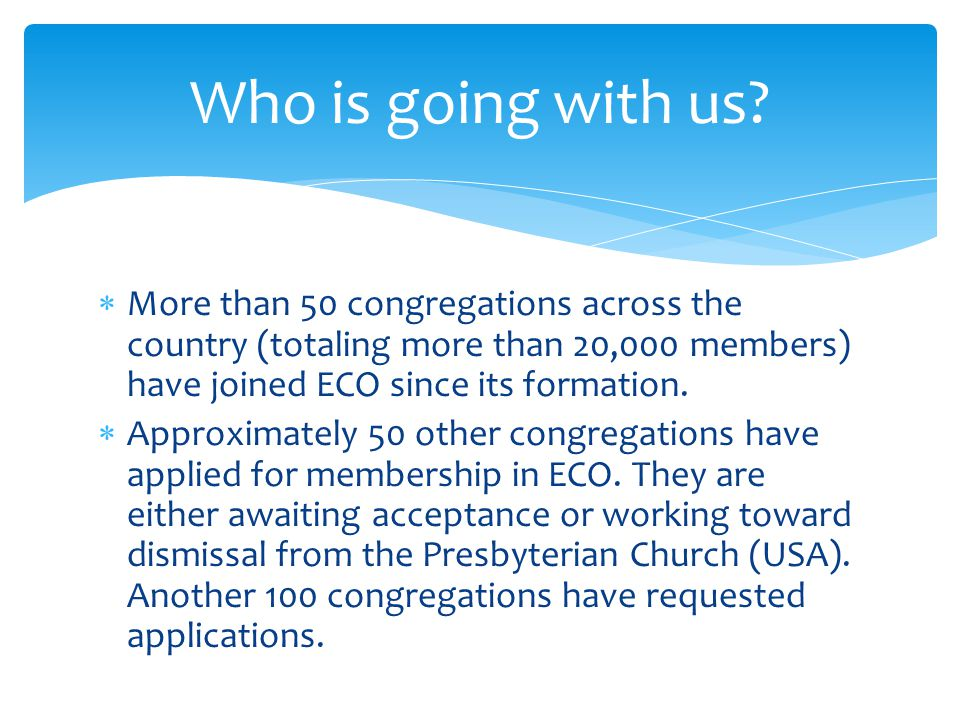  More than 50 congregations across the country (totaling more than 20,000 members) have joined ECO since its formation.