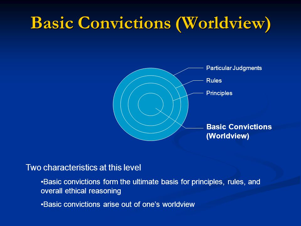 Basic Convictions (Worldview) Particular Judgments Rules Principles Basic Convictions (Worldview) Two characteristics at this level Basic convictions form the ultimate basis for principles, rules, and overall ethical reasoning Basic convictions arise out of one's worldview