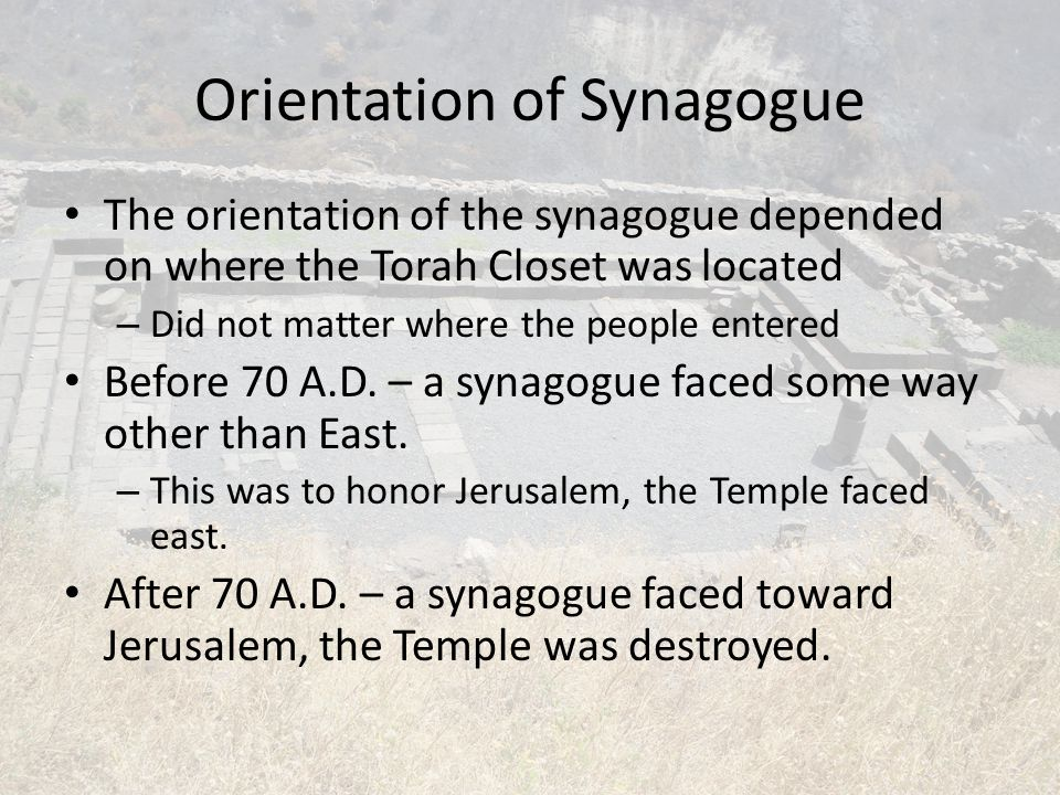 Order of Worship 1.Go to Mikveh 2.Enter synagogue as families 3.Caretaker starts the service 4.Stand for Shema and prayer 1.similar to Lord's prayer 5.Bringing out Torah scroll 1.Silence in reverence 2.Dancing and singing as it is opened
