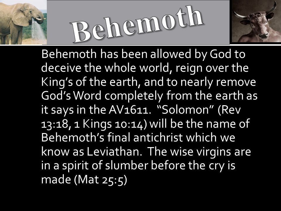 Behemoth has been allowed by God to deceive the whole world, reign over the King's of the earth, and to nearly remove God's Word completely from the earth as it says in the AV1611.