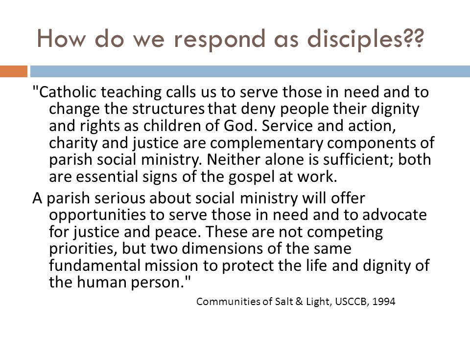 How do we respond as disciples .