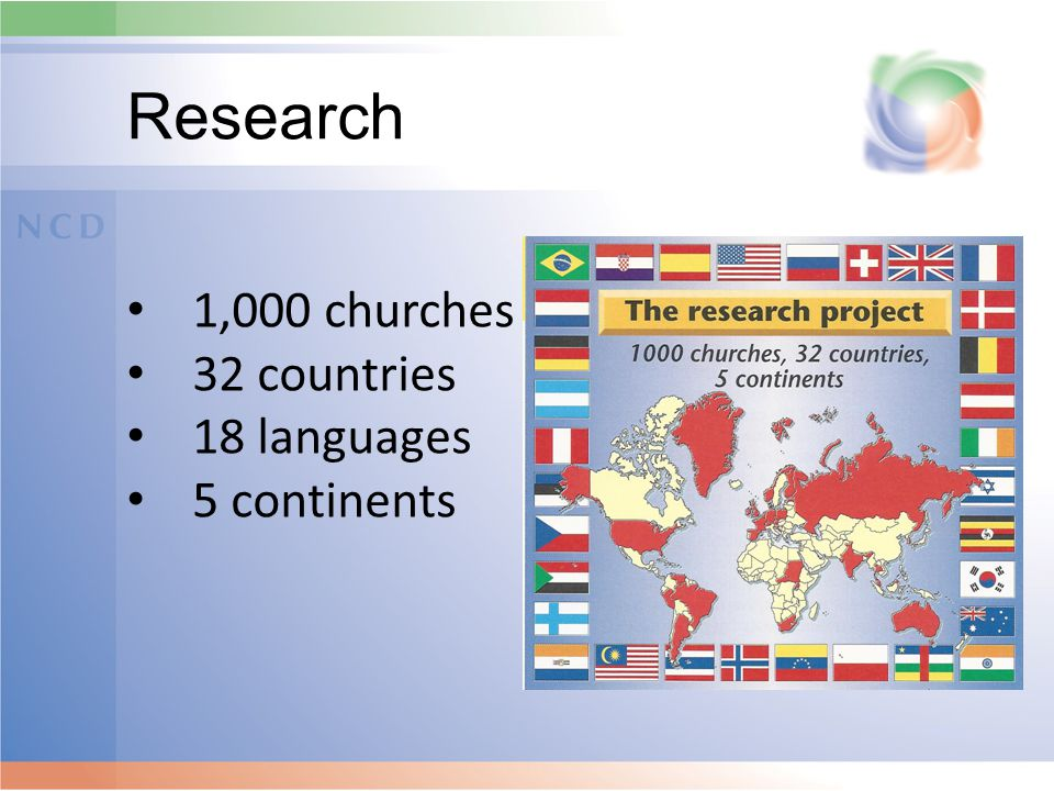 Research 1,000 churches 32 countries 18 languages 5 continents