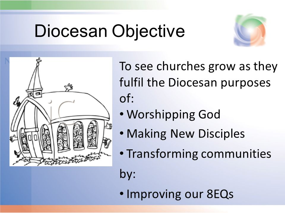 Diocesan Objective To see churches grow as they fulfil the Diocesan purposes of: Worshipping God Making New Disciples Transforming communities by: Improving our 8EQs