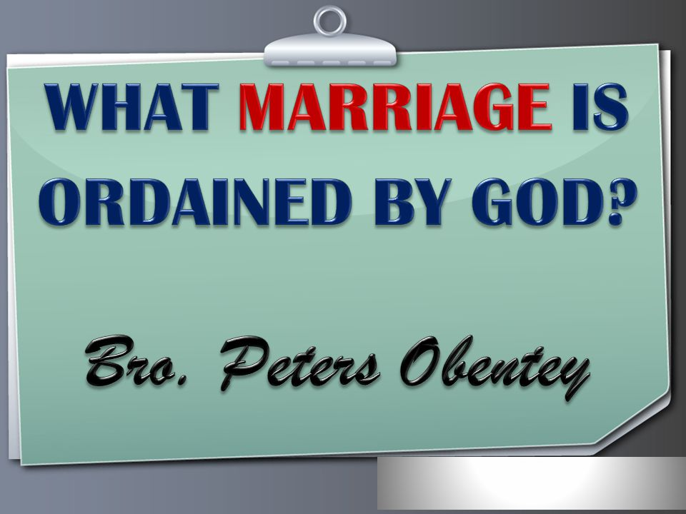 Your Logo Marriage is honourable, and the bed must not be defiled before and after marriage (Heb.