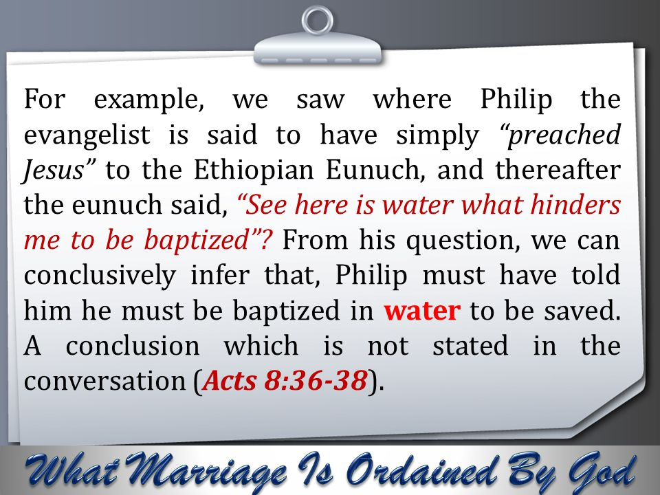 """Your Logo For example, we saw where Philip the evangelist is said to have simply """"preached Jesus"""" to the Ethiopian Eunuch, and thereafter the eunuch s"""