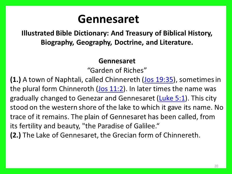 20 Gennesaret Illustrated Bible Dictionary: And Treasury of Biblical History, Biography, Geography, Doctrine, and Literature.