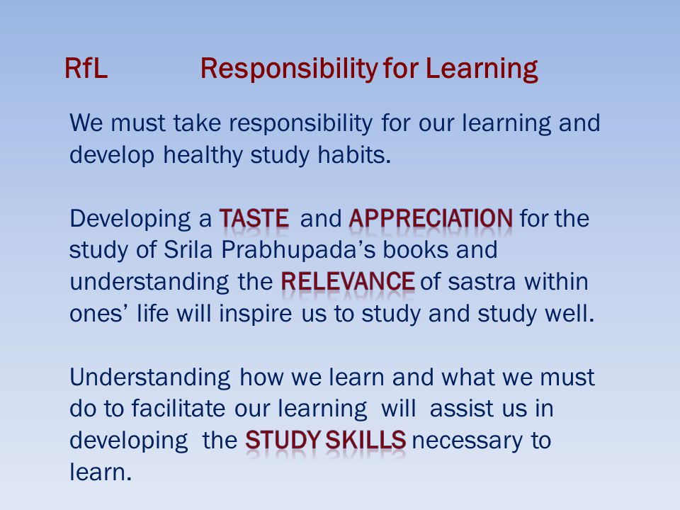 RfLResponsibility for Learning