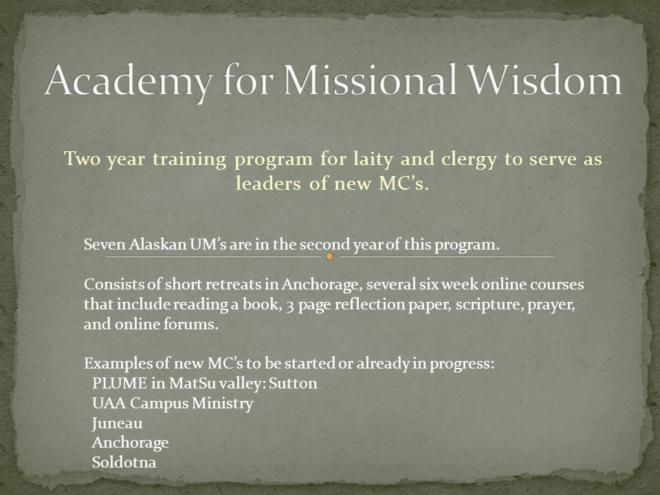 Two year training program for laity and clergy to serve as leaders of new MC's.