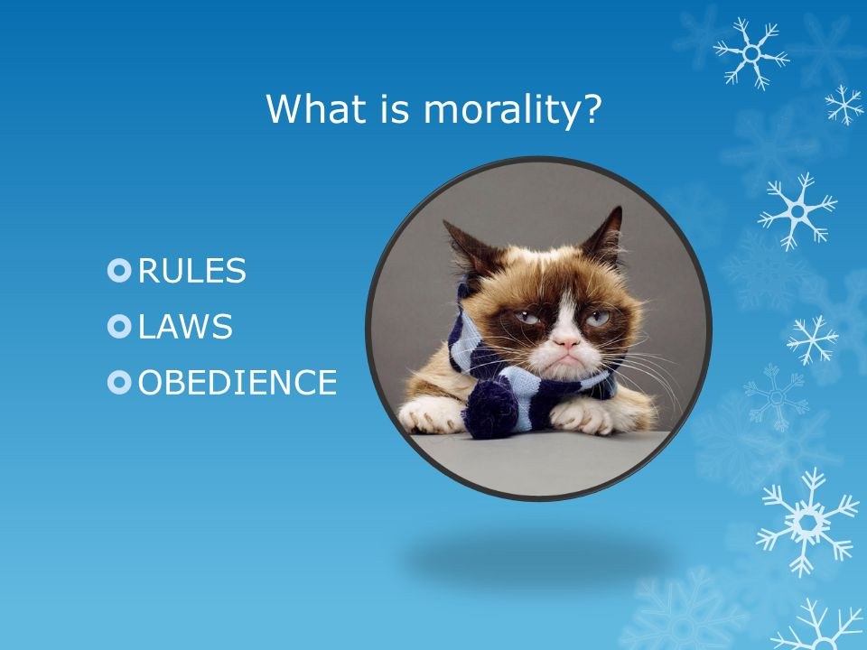 What is morality  RULES  LAWS  OBEDIENCE