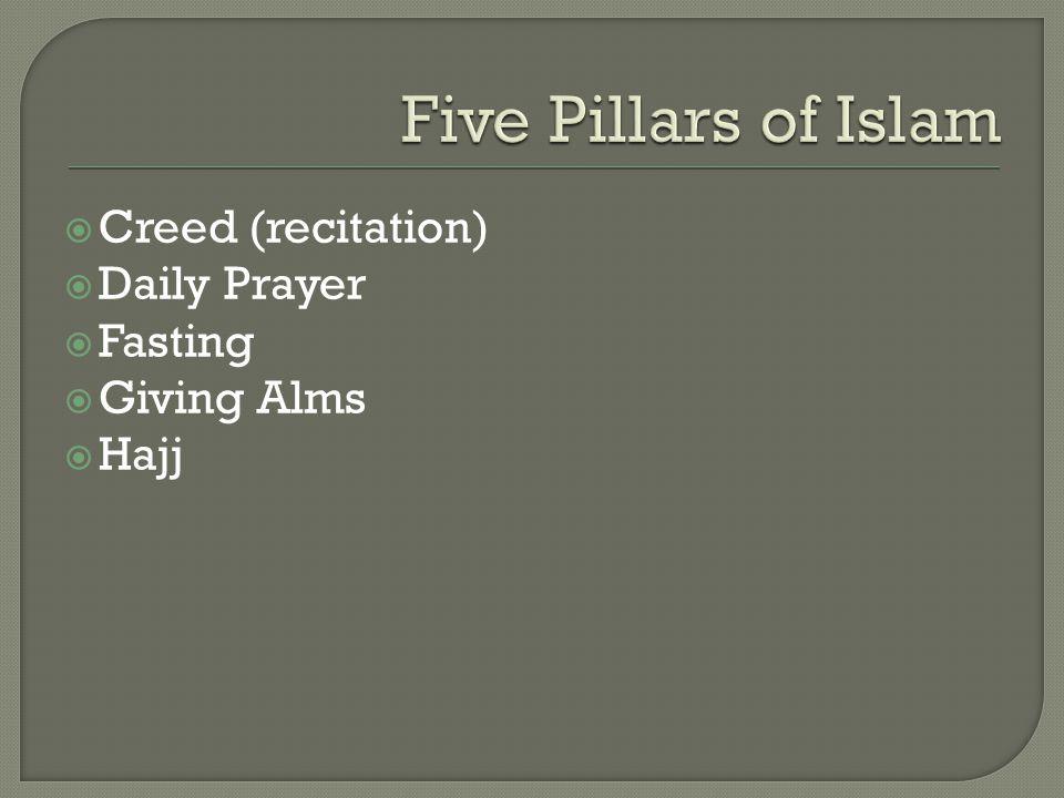  Creed (recitation)  Daily Prayer  Fasting  Giving Alms  Hajj