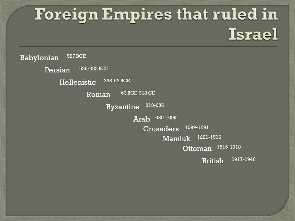Babylonian Persian Hellenistic Roman Byzantine Arab Crusaders Mamluk Ottoman British 587 BCE 538-333 BCE 333-63 BCE 63 BCE-313 CE 313-636 636-1099 1099-1291 1291-1516 1516-1918 1917-1948
