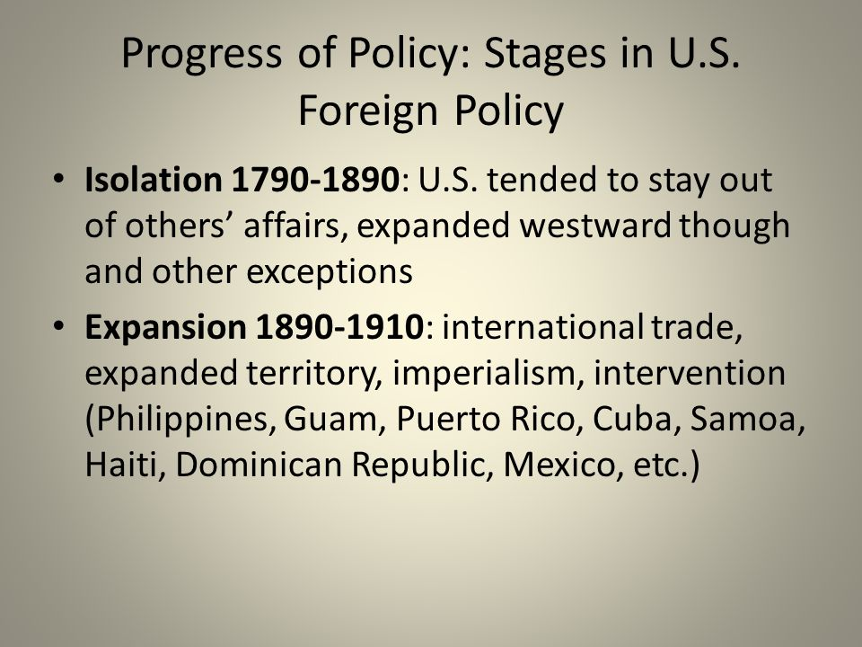 Progress of Policy: Stages in U.S. Foreign Policy Isolation 1790-1890: U.S.