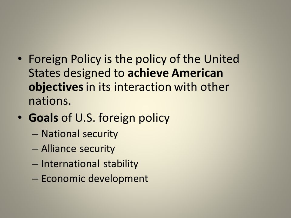National Security Earlier that was easy because the U.S.