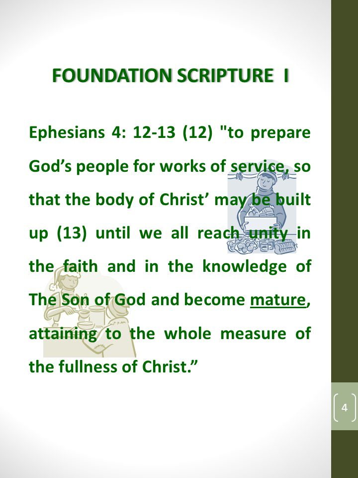 FOUNDATION SCRIPTURE IFOUNDATION SCRIPTURE I Ephesians 4: 12-13 (12) to prepare God's people for works of service, so that the body of Christ' may be built up (13) until we all reach unity in the faith and in the knowledge of The Son of God and become mature, attaining to the whole measure of the fullness of Christ. 4