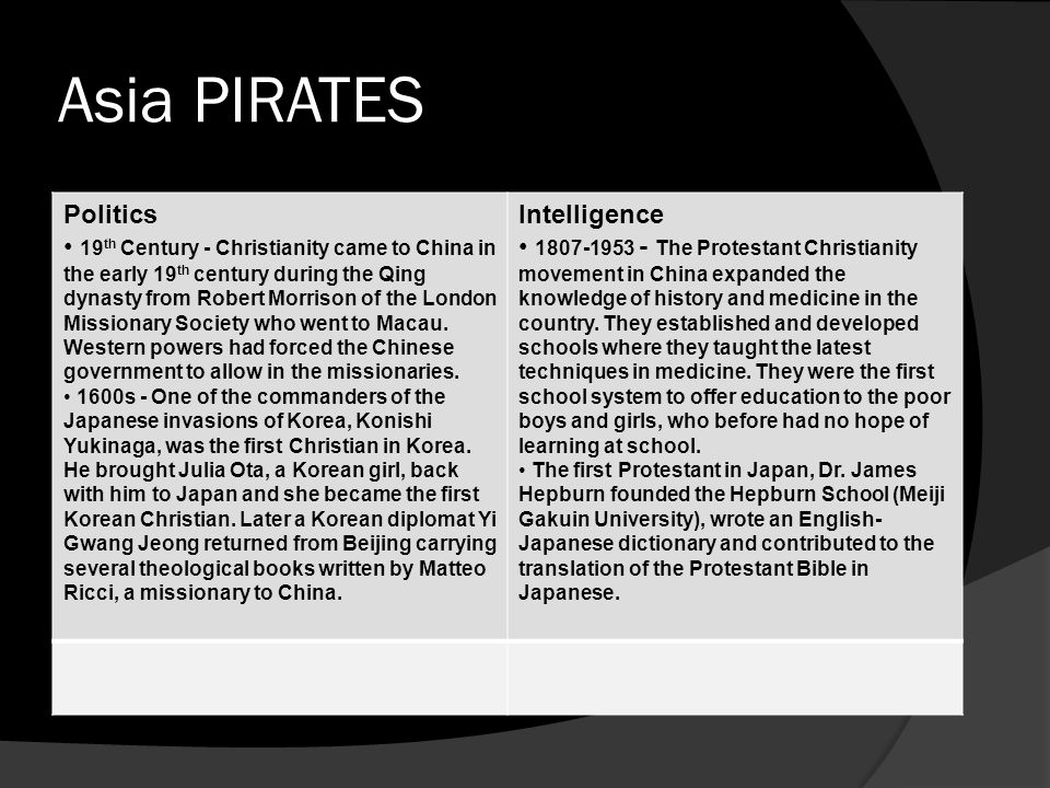 Asia PIRATES Politics 19 th Century - Christianity came to China in the early 19 th century during the Qing dynasty from Robert Morrison of the London Missionary Society who went to Macau.