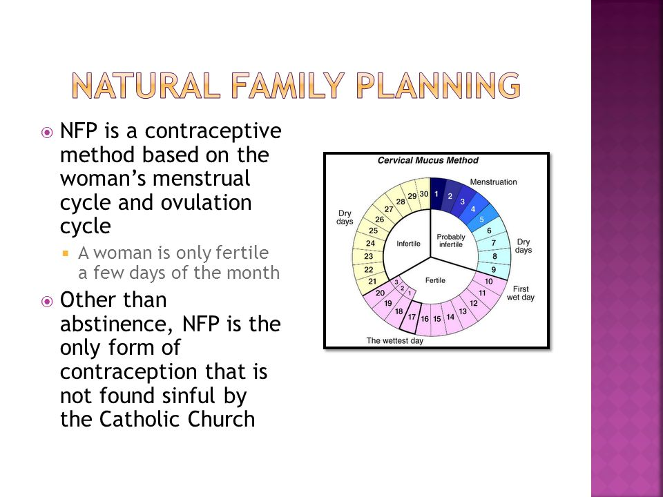  NFP is a contraceptive method based on the woman's menstrual cycle and ovulation cycle  A woman is only fertile a few days of the month  Other than abstinence, NFP is the only form of contraception that is not found sinful by the Catholic Church
