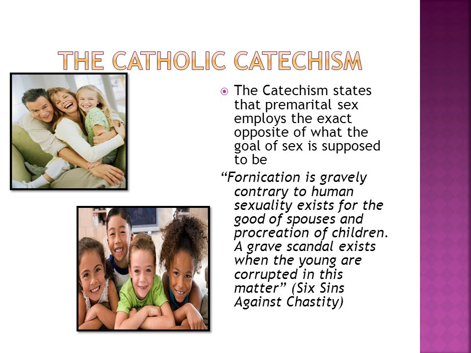  The Catechism states that premarital sex employs the exact opposite of what the goal of sex is supposed to be Fornication is gravely contrary to human sexuality exists for the good of spouses and procreation of children.