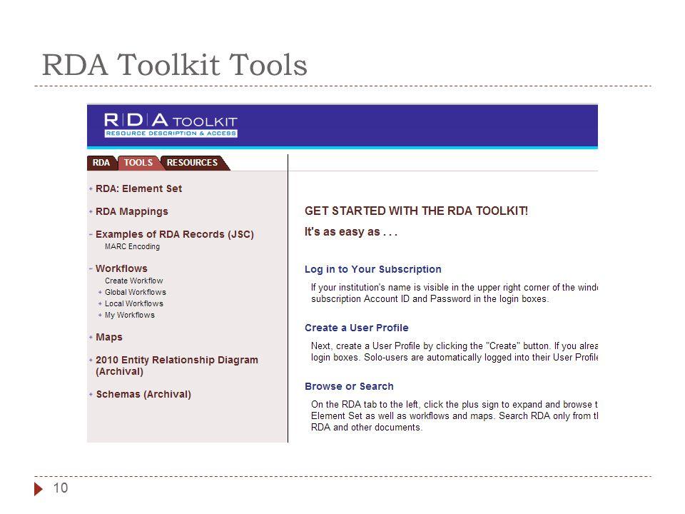 RDA Toolkit Tools 10