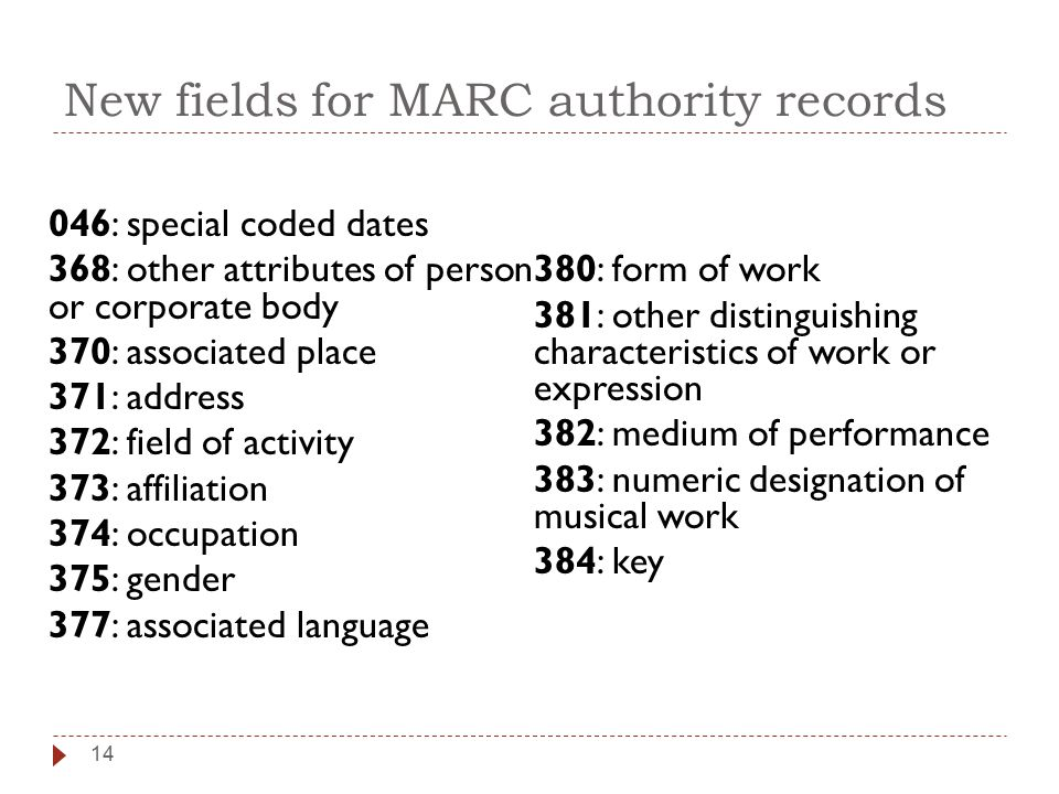 New fields for MARC authority records 046: special coded dates 368: other attributes of person or corporate body 370: associated place 371: address 372: field of activity 373: affiliation 374: occupation 375: gender 377: associated language 380: form of work 381: other distinguishing characteristics of work or expression 382: medium of performance 383: numeric designation of musical work 384: key 14