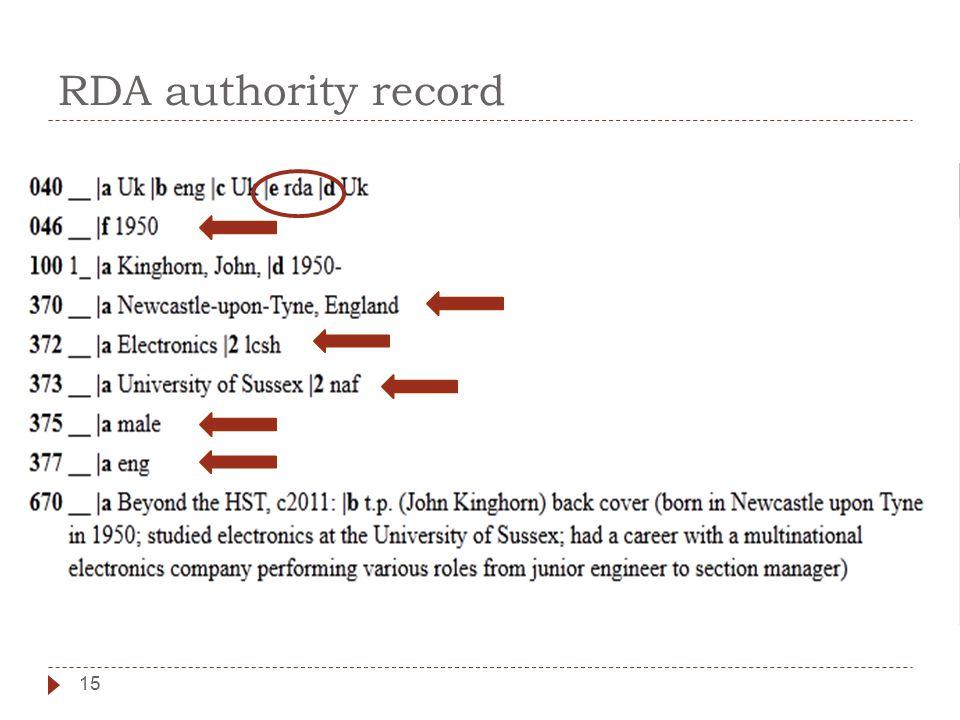RDA authority record 15