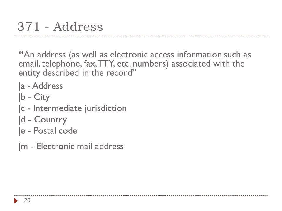 20 371 - Address An address (as well as electronic access information such as email, telephone, fax, TTY, etc.