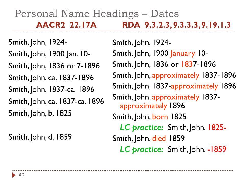 Personal Name Headings – Dates AACR2 22.17A Smith, John, 1924- Smith, John, 1900 Jan.