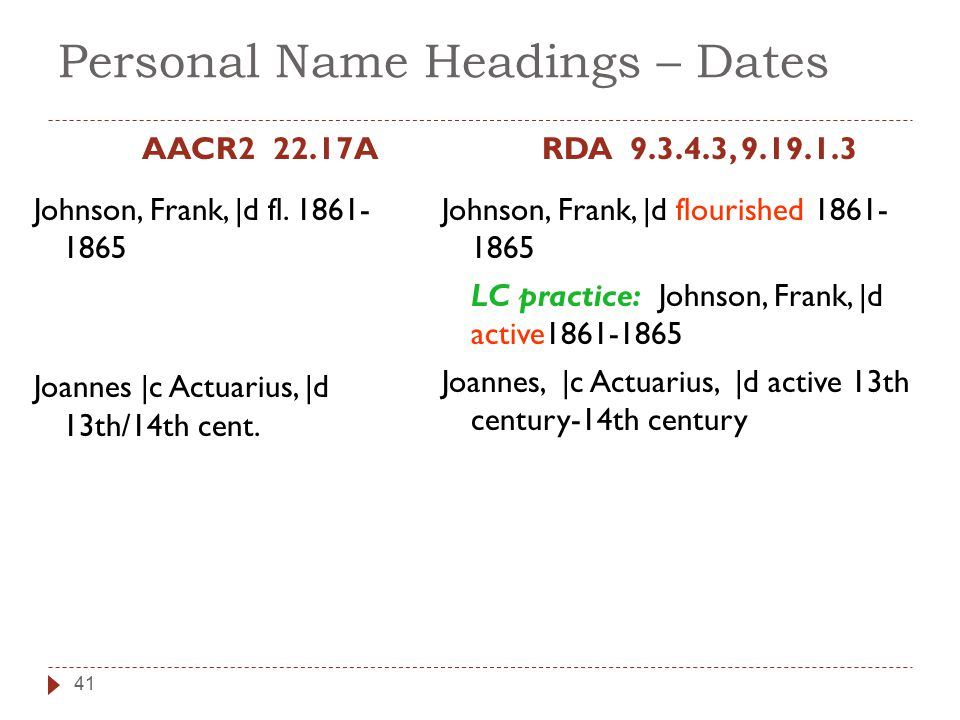 Personal Name Headings – Dates AACR2 22.17A Johnson, Frank, |d fl.