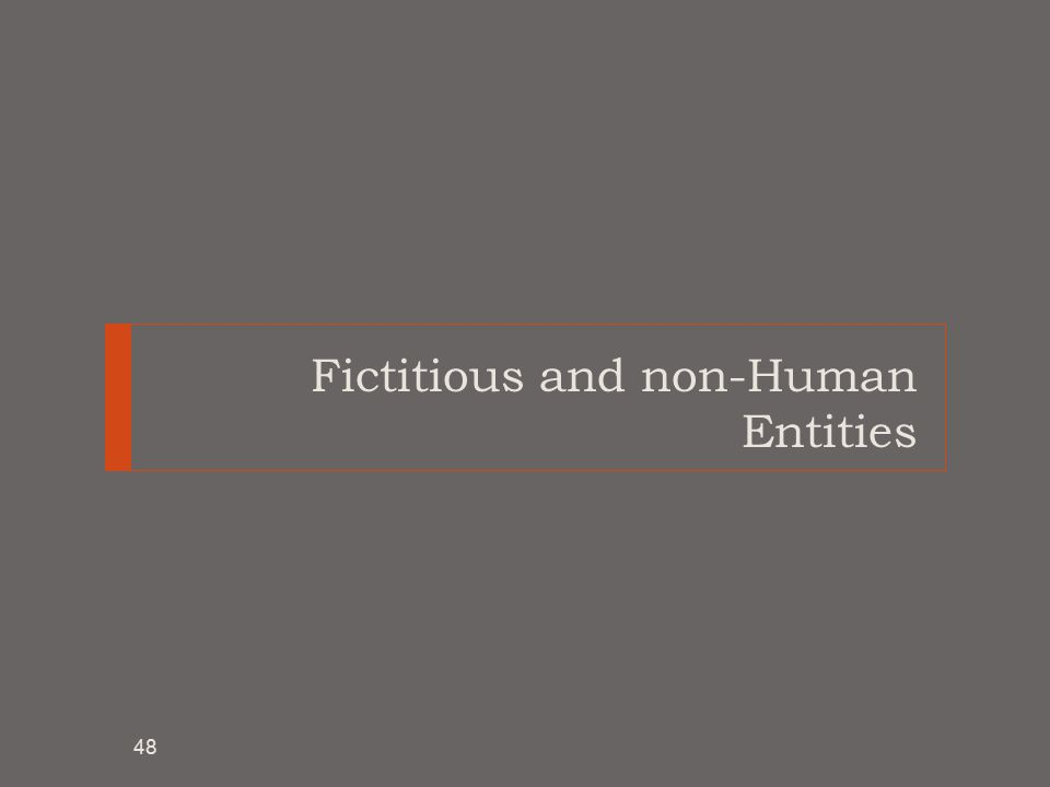Fictitious and non-Human Entities 48