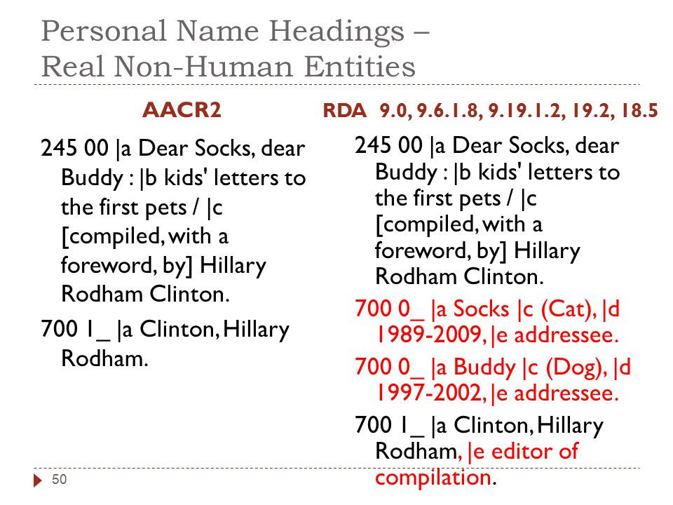 Personal Name Headings – Real Non-Human Entities AACR2 245 00 |a Dear Socks, dear Buddy : |b kids' letters to the first pets / |c [compiled, with a fo
