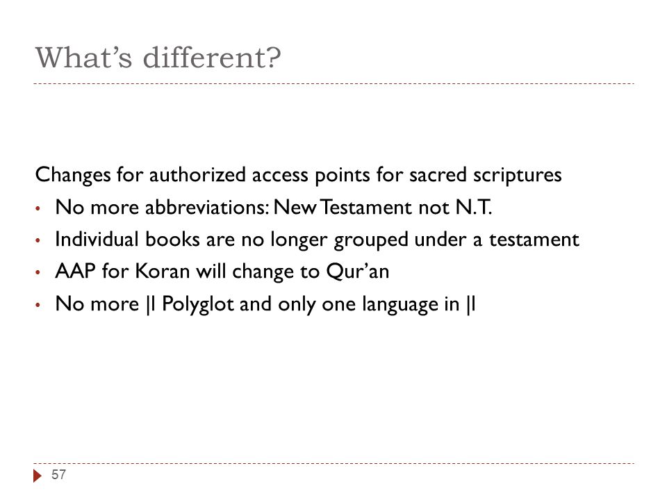 What's different? Changes for authorized access points for sacred scriptures No more abbreviations: New Testament not N.T. Individual books are no lon