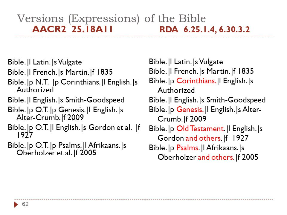 Versions (Expressions) of the Bible AACR2 25.18A11 Bible.