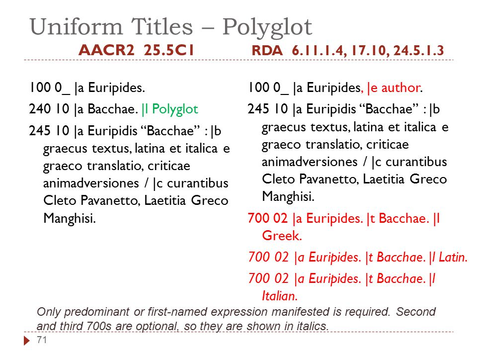 Uniform Titles – Polyglot AACR2 25.5C1 100 0_ |a Euripides.