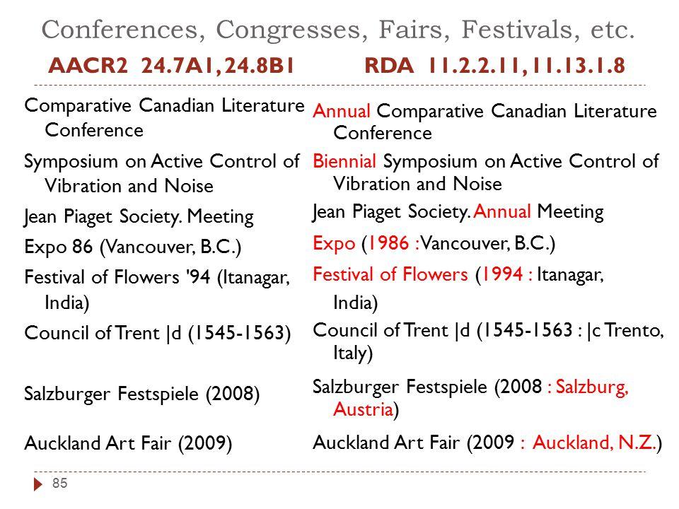 Conferences, Congresses, Fairs, Festivals, etc.