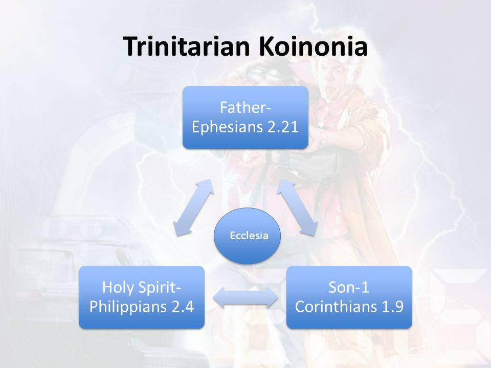 Trinitarian Koinonia Father- Ephesians 2.21 Son-1 Corinthians 1.9 Holy Spirit- Philippians 2.4 Ecclesia